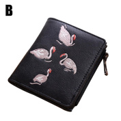Pomineer Retro Frosted Wallet Handmade Embroidery Swan Purse