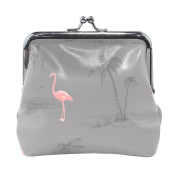 COOSUN Pink Flamingo Leather Coin Purse snap Closure Clutch Coin Wallet