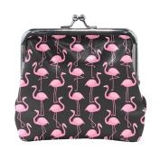 COOSUN Pink Flamingos Pattern Leather Coin Purse snap Closure Clutch Coin Wallet