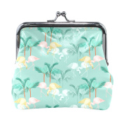 COOSUN Flamingos Repeat Leather Coin Purse snap Closure Clutch Coin Wallet