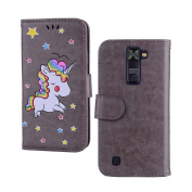 Case for LG K8 / K7 [2016 Version], EST-EU Unicorn Design Premium PU Leather Flip Wallet Case with Soft TPU Inner Case, Cute Cartoon Unicorn with Sparkling Glitter Star Pattern [Anti Scratch Protective] [Card Slots & Photo Frame & Cash Pocket] [Book De ..