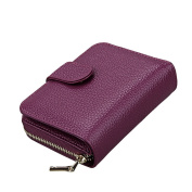 MuLier Women's Genuine Leather RFID Secure Spacious Cute Zipper Card Wallet Small Purse