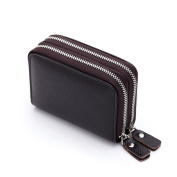 MuLier RFID Blocking Anti-theft Womens Leather Card Holder Accordion Style Card Case All-in-one Wallet