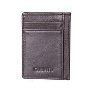 Yiwa Men Concise Hardwearing Leather Portable Bus Card Bag Wallet Purse