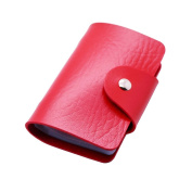 Zhi Jin Business Card Holder Wallet ID Credit Name Cards Organiser Display for Women Men Travel 12 Card Slots Red