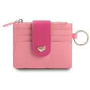 MuLier Girls Genuine Leather Peach Heart Thin Wallet Card Zipper Wallets with Key Ring