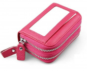 MeiliYH Ladies Simple Fashion Handbag Leather Double Zipper Large Capacity RIFD Anti-magnetic Card bag for Women