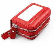 MeiliYH Ladies Simple Fashion Handbag Leather Double Zipper Large Capacity RIFD Anti-magnetic Card bag for Women