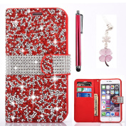Silicone Case for Samsung Galaxy S7, Bonice View Stand Feature Magnetic Diamond Buckle Case Purse Shock Resistant Touch Flip Folio Case Cover Slim Thin Case Bumper 3D Shiny Glitter Crystal Rhinestone Bling Shining PU Leather Wallet Case + Stylus Pen + ..