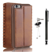 Business Credit Card Holder,Bonice Ladder Shaped Hollow PU Leather Solid Colour Folio Stand Magnetic Snap Compact Phone Wallet Organiser with Stylus Pen and Antidust Plug for iPhone 6S/6 12cm - Brown