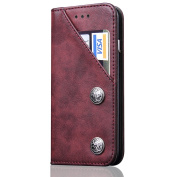 Iphone8, 15cm , Leather Wallet Iphone Case, Stand View Leather Protective Flip Cover on Magnetic Closure with Credit Crad Slots,