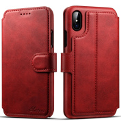 iPhone X, 15cm , Folio PU Leather Wallet Phone Case Kickstand Protective Flip Cover with Credit Card Holder,