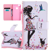 ISAKEN Case for Huawei P10 Lite, [Shock-Absorption][PU Leather] Protective Cover Luxury Drawing Printing Design Elegant PU Wallet Flip Case Cover with Card Slots & Stand Function & Magnetic Closure for Huawei P10 Lite - fairy girl flower butterfly cat