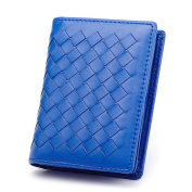 MuLier Woman Card Holder Wallet Leather Genuine Sheepskin Weave Pattern Card Holders Credit ID Business Case Coin Purse Blue