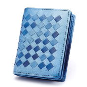 MuLier Woman Card Holder Wallet Leather Genuine Sheepskin Weave Pattern Card Holders Credit ID Business Case Coin Purse Skyblue
