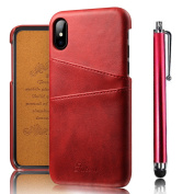 iPhone X PC Phone Cover Bumper 15cm , Bonice Snap on Vintage Synthetic Soft Leather Case Purse 2 Exterior Credit Card Slot Holder PC Protective Cover RFID Blocking Durable Shockproof Wallet Cover Case Purse Ultra Thin Slim Case Bumper with Stylus ..