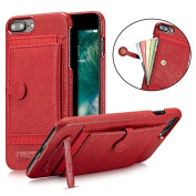 Bonice iPhone 7 Plus Wallet Case,PU Leather Durable Shockproof Wallet Cover with Stand Feature and Credit Card Slot Holder for iPhone 8 Plus / 7 Plus 14cm - Vermilion