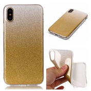 iPhone X Case [With Tempered Glass Screen Protector],Qimmortal(TM) Luxury Bling Bling Glitter Sparkle Design Soft Silicone Gel TPU Ultra Slim Protective Rubber Bumper Case Cover Shell for Apple iPhone X - Gold