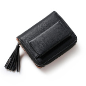 DWE Women Small Wallets , RFID Blocking Tassel Pendant Short Wallets PU Leather Coin Pocket Purses For Girls Ladies