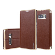 Ticase Premium PU Leather Wallet Case Soft Silicone Shell Case [Hard PC Edge][Stand Function] Shockproof Flip Cover for Samsung Galaxy Note 8 - Brown