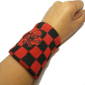 Vonchic Chequered Black Red Pirate Skull Cross Bone Logo Sports Sweatbands / Wristbands 1Pair