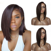 Mufly Dark Brown Synthetic Hair Wig Natural Bob Straight Wig Lace Front Synthetic Hair Fashion Hair Heat Resistant for Women