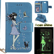 LG K3 Case , COOSTOREEU Premium PU Leather Wallet Case with [Kickstand] [Card Slots] [Magnetic Closure] [Luxurious Hand Strap] Flip Notebook Case for LG K3 , Blue