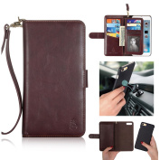 iPhone 6 Plus / 6S Plus Wallet Case - Ticase [2017 New Arrival] 2 in 1 Set Advanced Genuine Leather Magnetic Wallet Hand Strap Case Detachable Cover [Suit Car Bracket] with Card Slots - Brown
