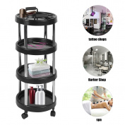 4 Layers Round Movable Plastic Salon Hairdresser Dryer Holder Barber Hair Trolley Beauty Drawers Spa Rolling Storage Cart