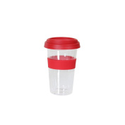 axentia Reusable Insulated Travel Cup - Double Walled Glass Take Away Mug, Temperature Resistant For Hot And Iced Drinks - Travel Tumbler 300ml,, Red,, 9 x 9 x 15 cm