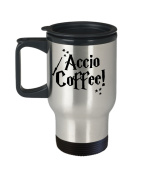 Accio Coffee Travel Mug, Insulated Stainless Steel Tumbler, Funny Harry Potter Themed Fan Gift