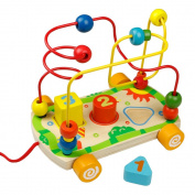 Bead Maze Roller Coaster, Pull Along Car, Wooden Shape Sorter Number for Kids 18M+