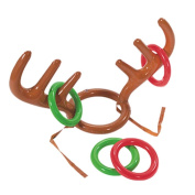 . Christmas Party Toss Game Inflatable Reindeer Antler Hat with 4 Rings Xmas Fun Toys
