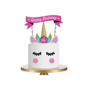 Kicode Creative DIY Unicorn Birthday Cake Topper Accessories Glittery Flowers Handmade Birthday Decoration