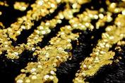 5mm Reversible Sequin Fabric, Mermaid Sequins Material - Black & Gold -130cm wide per 0.5 metre