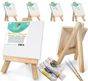 "Daveliou Mini Canvas Painting Set 3x3"" (7.6x7.6 cm) - Blank Stretched Framed Canvas 6 Piece Pack - 5"" (12.7 cm) Easel - 6 Acrylic Paints - 2 Paint Brushes"