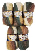 5.x 100.g Alize Knitted Wool 40% Content Gradient Brown Beige Cream Olive Green No. 4726, 500.g