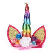CosCosX 1 Pcs Girls Unicorn Horn Headband with Ears and Flowers for Kids Adults Rainbow Birthday Party Favours Dress Cosplay, Rainbow Horn