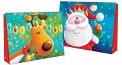 2 Christmas Landscape Super Jumbo Gift Bag Juvenile Characters Cute Santa Rudolf Present Kids Children Toy Paper Xmas Party Festive Tags