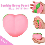 Toamen Newest Cute 11CM Pink Honey Peach Cream Scented Soft Squishies Charms Toy for Stress Relief and Time Killing, Cell Phone Pendant Strap Gift