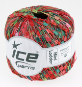 LADDER YARN by Ice Yarns No 46974. Red/Pink/Green mix.+ Free Scarf Pattern