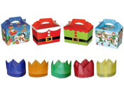 100 X VARIOUS DESIGNS CHRISTMAS XMAS CHILDRENS KIDS PARTY MEAL BOXES WITH FREE HATS
