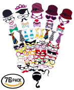 76 Pcs Photographed Spoof Props, Photo Decorations, Birthday Party / Wedding / Meeting,NANDEYIBI Holiday Group Photo DIY Photography Supplies, Funny Dress up Props, Including Glasses / Hat / Tie / Lipstick and more