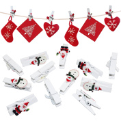24 Christmas Card Hanging Snowman & Santa Novelty Wooden Pegs