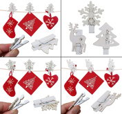 36 Christmas Card Hanging Snow Flake Reindeer Tree Wooden Pegs
