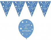Baby Boy's 1st Birthday Bundle Pack Icluding Balloons Featuring Stars 5/Pack and Matching Stars Bunting
