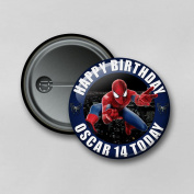 Marvel Superhero Spiderman V2 (5.8cm) Personalised Pin Badge Printed in Hi-RES Photo Quality