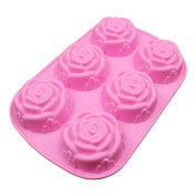 Haodou Birthday Cake Mould Rose Flower Shape Chocolate Jelly Silicone Baking Mould Sugar Fondant Decorating Cavities Kitchen Craft Tools for Party Pink 1Pcs