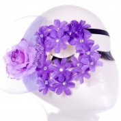 Nikgic Purple Flower Lace Eye Mask Prom Mask Masquerade Face Mask Halloween Carnival Party Mask