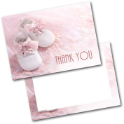 *NEW* Pack of 20 Thank You Baby Gift Baby Shoes Girl Postcards Cards with Envelopes